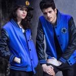 เสื้อคลุมผู้ชายแขนยาว ผู้หญิงใส่ได้ เสื้อแจ็คเก็ต ผ้า คอตต้อน ผสม หนัง สำหรับนักขี่มอเตอไซค์ เท่ ๆ เสื้อ jacket สีน้ำเงินเข้ม สวย ๆ 585852_2