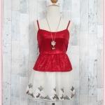 SALE!! blouse2612 เสื้อแฟชั่นสายเดี่ยวผ้ายืดวิ้งชายระบาย สีแดง