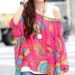 เสื้อคลุม ผ้าชีฟอง คอกว้าง เสื้อใส่เที่ยวทะเล ใส่เที่ยว สีแสบ แฟชั่น สุดเก๋ สีชมพู ลายนกยูง ออกติส ๆ no 85154_8