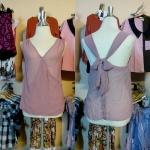 Sale!! blouse1572 เสื้อแฟชั่นผ้าชีฟอง คอวีป้าย ผูกโบว์หลัง สีชมพูกะปิ รอบอก 36 นิ้ว
