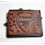 กระเป๋าสตางค์หนังแท้สีน้ำตาล Arsenal หนังกลับสวยมากค่ะ