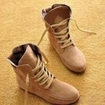 รองเท้าบูทผู้หญิง หนังแท้ รองเท้ามาตินบูท รองเท้าหุ้มข้อ ส้นแบน สีพื้น สไตล์ สาวคาวบอย เท่ ๆ สีเบจ รองเท้าผ้าใบแบบหุ้มข้อสูง 399771