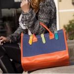 กระเป๋าถือผู้หญิง กระเป๋าแฟชั่น สามารถปรับเป็น กระเป๋าสะพายข้าง ได้ ผ้าแคนวาส สีสันสดใส ใส่ของไปเรียน ทำงาน สีส้ม และ สีฟ้า 675613