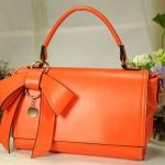 กระเป๋าถือผู้หญิง กระเป๋าแฟชั่น หนังเรียบ ดีไซน์ติดโบว์ แฟชั่น ฝรั่งเศส กระเป๋าถือออกงาน ไปทำงาน เรียบหรู สีส้มสด no 441435_2