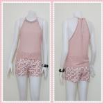 **สินค้าหมด blouse1822 เสื้อแฟชั่นโชว์ไหล่คอเพชร ผ้าชีฟองสีชมพูกะปิ
