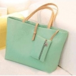 กระเป๋าถือสำหรับผู้หญิง ใบใหญ่ วัสดุ PU ทนทานกันน้ำได้ สีเขียว