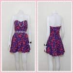 **สินค้าหมด dress2237 เดรสแฟชั่นเกาะอกเสริมฟองน้ำบาง ซิปหลัง เว้าเอว ผ้าฮานาโกะลายแตงโมใหญ่ สีน้ำเงิน