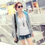 พร้อมส่ง - gray เสื้อคลุมแฟชั่นเกาหลี ลุคSport girl สุดน่ารัก มีฮูด ตรงอกติดอักษรตัว C