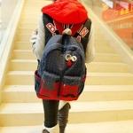 กระเป๋าเป้ กระเป๋าสะพายหลัง แบบน่ารัก กระเป้เดินทาง ใส่ของ ใส่หนังสือเรียน เสื้อผ้าท่องเที่ยว แฟชั่น ยุโรป ดีไซน์ เก๋ สียีนส์ ลายจุด French 62199