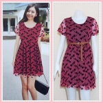 **สินค้าหมด dress2812 ชุดเดรสแฟชั่นไซส์ใหญ่แขนสั้น ผ้ายืดซีทรูลายแมลงปอมีซับในสีแดง (ไม่รวมเข็มขัด)