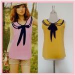 **สินค้าหมด blouse1732 เสื้อแฟชั่นงานแพลตตินั่มผ้าชีฟองเนื้อดี คอบัวสองชั้นผูกโบว์ แขนกุด สีเหลืองกุ๊นกรมท่า รอบอก 38 นิ้ว