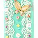 เคสโทรศัพท์ เคส Samsung Galaxy Note 2 N7100 เคส Diy งาน Hand made ติดคริสตัล ผีเสื้อ แสนสวย แต่งลูกไม้สีขาว หวาน ๆ 349444
