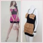 **สินค้าหมด Sale!! dress1875 เดรสแฟชั่น เสื้อสายเดี่ยวสีดำ ตัดต่อกระโปรงชีฟองระบายชั้น สีน้ำตาล