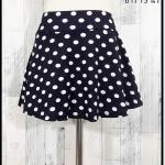 **สินค้าหมด skirt297 กางเกงกระโปรง ผ้าหนังไก่เนื้อนุ่มลายจุดใหญ่ พื้นสีกรมท่า