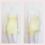 **สินค้าหมด dress2315 เดรสแฟชั่นเกาะอกเสริมฟองน้ำบาง หลังริ้วเป็นเส้นๆ ซิปหลัง ผ้าสกินนี่(ยืดได้เยอะ) สีเหลืองพาสเทล Size M