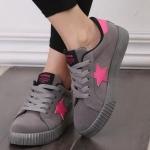 รองเท้าผ้าใบ ผู้หญิง รองเท้า วัยรุ่น รองเท้าหุ้มส้น สีเทา ตัดกับ ดาว สีชมพู รองเท้าใส่เที่ยว ใส่เรียน รองเท้าใส่เล่นกีฬา ออกกำลังกาย ผู้หญิง 131001_1