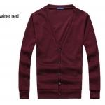 เสื้อกันหนาวผู้ชาย เสื้อใส่คลุมในออฟฟิต เสื้อคลุมแขนยาว ไหมพรม สำหรับผู้ชาย สวยเรียบ มีสไตล์ ใส่ได้ทุกวัน สี Red Wine no 603068_8
