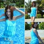 ชุดว่ายน้ำผู้หญิง ชุดว่ายน้ำ ออกแบบเหมือน ชุดเดรส มีระบายเป็น ชั้น ๆ ใส่ว่ายน้ำ เดินชายหาด แบบเก๋ ๆ สีสันสดใส สีฟ้า no 52789_1