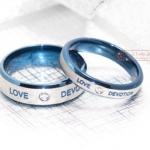 แหวนคู่ แหวนครบรอบวันแต่งงาน แหวนหมั้น แหวนแทนใจ Stainless สีฟ้า ฝังเพชร สุดหรู สลักคำว่า Love Devotion ความจงรักภักดี กับ ความรัก 351130