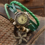 นาฬิกาข้อมือ ผู้หญิง นาฬิกาสายหนังถัก สไตล์สร้อยข้อมือ สีเขียว Natural งาน Hand made ห้อย จี้ ปลาดาว วินเทจ เก๋ อย่างมีสไตล์ 799462_5