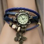 นาฬิกาข้อมือ ผู้หญิง สายหนังถัก สไตล์สร้อยข้อมือ วินเทจ ห้อย จี้ รูปตัว ผีเสื้อ สวยเท่ ราคาถูก 9798247_2