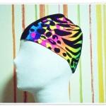 หมวกว่ายน้ำ แฟชั่น ลายกราฟฟิค สะท้อนแสง สีพื้นสีดำ แต่งลาย สวยสุด ๆ no sc012