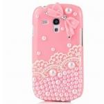 เคส Samsung Galaxy S3 mini S3mini i8190 8190 เคส Diy สีชมพู แต่งมุก ติด คริสตัล ผสม ลูกไม้ สีขาว ติดโบว์ สไตล์ คุณหนู 549861
