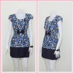 **สินค้าหมด Sale!! dress1989 เดรสแฟชั่นผ้าเนื้อดีลายดอกไม้ โบว์เอว สีน้ำเงิน