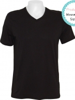 blouse3403 (ปลีก180/ส่ง109) Black T-shirt เสื้อยืดผ้าคอตตอน (Cotton 100%) คอวี แขนสั้น สีดำล้วน Size L