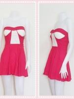 dress2260 เดรสแฟชั่นเกาะอกเสริมฟองน้ำ ผ้าสกินนี่(ยืดได้เยอะ) สีชมพูช็อคกิ้งพิ้งค์