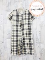 jumpsuit602 (ปลีก200/ส่ง140) Big Size Jumpsuit จัมพ์สูทแฟชั่นไซส์ใหญ่ขาห้าส่วน แขนสั้น ผ้าเนื้อดีมีน้ำหนักลายสก็อตโทนสีดำครีม
