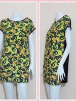 dress2602 เดรสแฟชั่นไซส์ใหญ่แขนในตัวด้านหลังสีดำ ผ้ายืดลายไทยโทนสีเขียวเหลือง
