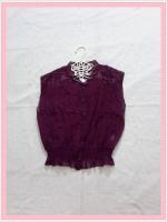 blouse2016 เสื้อแฟชั่นคอจีนแขนกุด ตีเกล็ดหน้า เอวจัมพ์ กระดุมหน้า ผ้าชีฟองสีม่วง