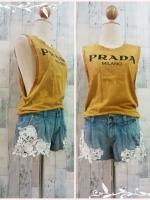 blouse2904 เสื้อแฟชั่นแขนกุดเว้าลึก ผ้ายืดเนื้อดีสกรีนลาย PRADA สีเหลืองมัสตาร์ด