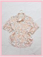 blouse2032 เสื้อแฟชั่นไซส์ใหญ่คอปก กระดุมหน้า ชายหลังยาว ผ้าชีฟองโปร่งลายดอกไม้สีส้มโอลด์โรสอ่อน