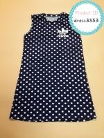 dress3553 ชุดเดรสน่ารัก อกสกรีน Adidas ผ้าแมงโก้ยืดเนื้อนิ่มหนาสวย ลายจุดสีกรมท่า