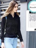 blouse3414 (ปลีก260/ส่ง169) งานนำเข้า เสื้อเชิ้ตสีดำแขนยาว กระดุมหน้า ผ้าหนังกบเนื้อดี(เนื้อผ้าจะหนากว่าไหมอิตาลี) รอบอก 38 นิ้ว