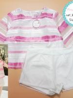 set_bp1196-4 งานนำเข้าแบรนด์เกาหลี ชุดเซ็ท 2 ชิ้น(เสื้อ+กางเกง) เสื้อแขนสามส่วนลายริ้วผ้าแก้วนิ่มมีซับในโทนสีขาวชมพู+กางเกงขาสั้นผ้าหนาเนื้อดีคลุมทับด้วยผ้าแก้วสีขาว Size XL