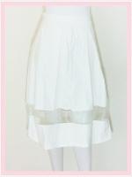 skirt284 กระโปรงผ้าสกินนี่ เอวจับจีบซิปข้าง ชายแต่งผ้าใยแก้ว(ผ้าโปร่ง) สีขาว Size M เอว 28-32 นิ้ว