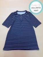 dress3572 (ปลีก160/ส่ง99) Big Size Dress ชุดเดรสไซส์ใหญ่ คอแต่งซิป แขนสามส่วน ผ้าหนังไก่เนื้อนุ่มใส่สบายยืดได้เยอะ ลายริ้วสีกรมท่า