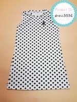 dress3556 (ปลีก170/ส่ง120) ชุดเดรสน่ารัก อกสกรีน Polo ผ้าแมงโก้ยืดเนื้อนิ่มหนาสวย ลายจุดสีขาว