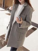 เสื้อโค้ทกันหนาว สไตล์เกาหลี ทรงสวย Classic ผ้าสำลีเนื้อเบา บุซับในกันลม สีเทา พร้อมส่ง