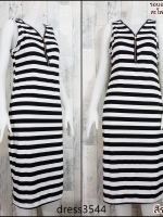 dress3544 Maxi Dress เดรสยาวคอวีแต่งซิป แขนกุด ผ้าคอตตอนยืดเนื้อนิ่มลายริ้วกลาง สีขาวดำ