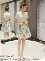 dress3499 (ราคาส่ง) งานนำเข้าแบรนด์เกาหลี ชุดเดรสน่ารัก เสื้อลูกไม้เนื้อนิ่มแขนสั้นสีขาวเย็บติดกระโปรงชีฟองเนื้อนิ่มลายดอกไม้สีฟ้าพื้นขาวมีซับในหนาอย่างดี งานสวยเป๊ะดีงามตามแบบ