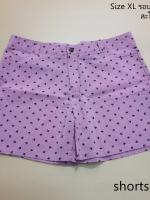 shorts306 กางเกงขาสั้น กระดุมซิป ผ้ายีนส์เทียมลายร่ม สีชมพู Size XL