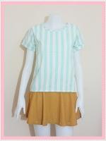 blouse2101 เสื้อแฟชั่นน่ารัก แขนสั้น ผ้าชีฟองลายทางสีครีมเขียวพาสเทล
