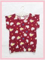 blouse1988 เสื้อแฟชั่นน่ารัก แขนในตัว จัมพ์เอว ผ้าชีฟองเนื้อหนาลายหัวใจสีแดงเลือดหมู