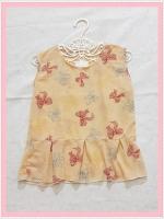 blouse2106 เสื้อแฟชั่นน่ารักแขนกุดชายระบาย ผ้าชีฟองเนื้อทรายลายโบว์สีเหลือง
