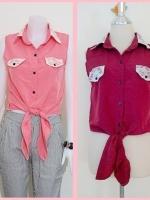 Sale!! blouse1696 เสื้อแฟชั่นผ้าไหมอิตาลี คอปกเชิ้ตลูกไม้ ผูกเอว สีน้ำตาลแดง รอบอก 36 นิ้ว
