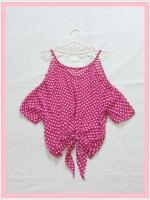 blouse1963 เสื้อแฟชั่นไซส์ใหญ่แขนสามส่วนเปิดไหล่ ผูกชาย ผ้าชีฟองโปร่งสีชมพูช็อคกิ้งพิ้งค์ลายจุดขาว